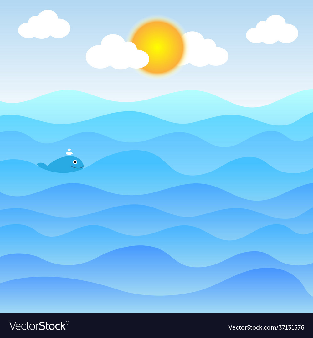 Water waves and sun with clouds and cute little fi