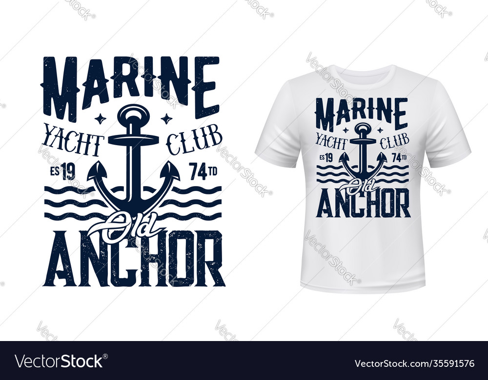 Yachting club t-shirt print with anchor