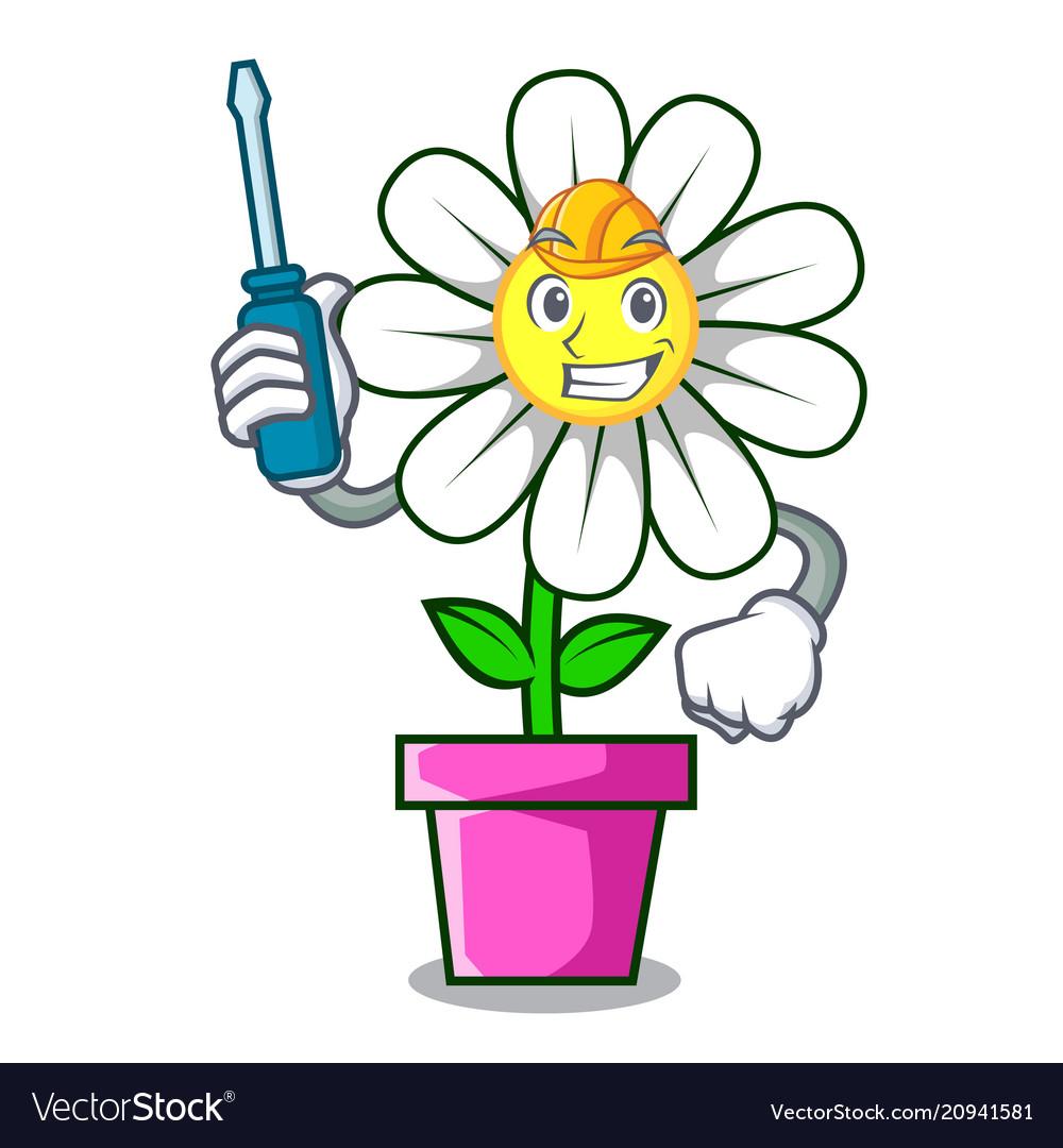 Automotive daisy flower mascot cartoon royalty free vector automotive daisy flower mascot cartoon vector image izmirmasajfo