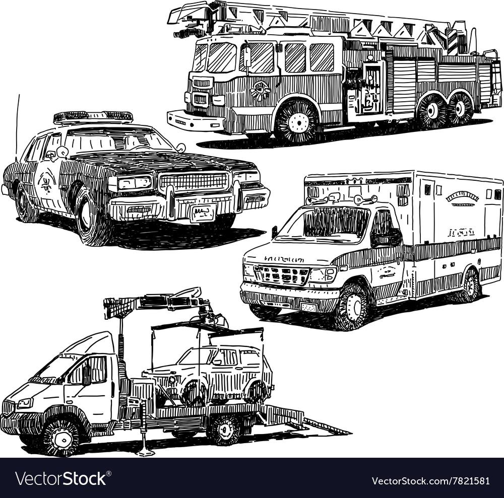 Autos drawings set