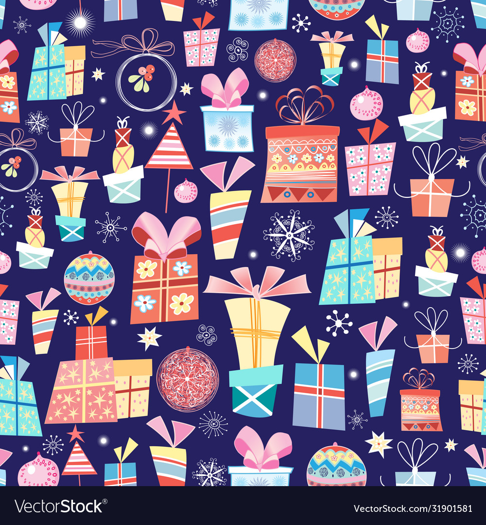 Christmas texture with gifts