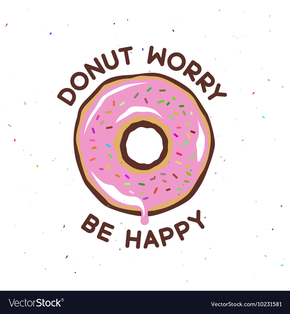 Donut worry be happy vintage poster