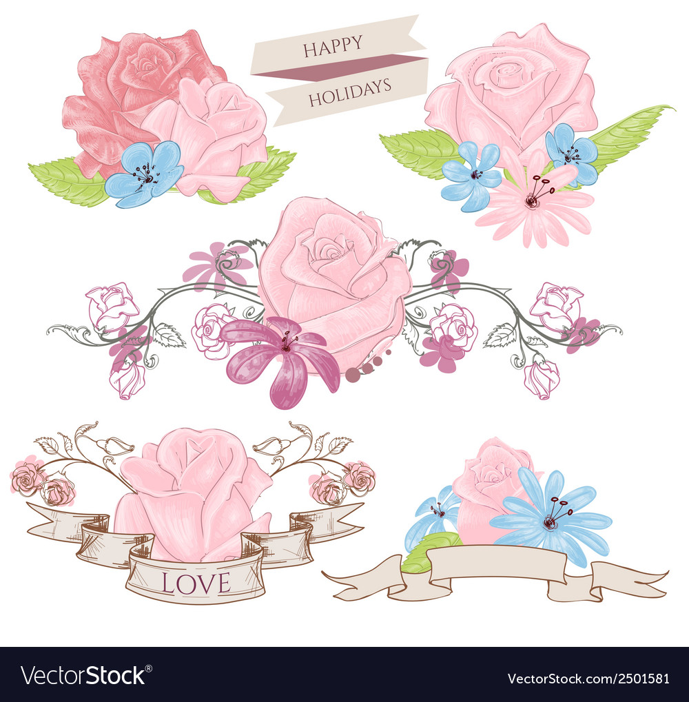 Floral design elements bouquets and banners
