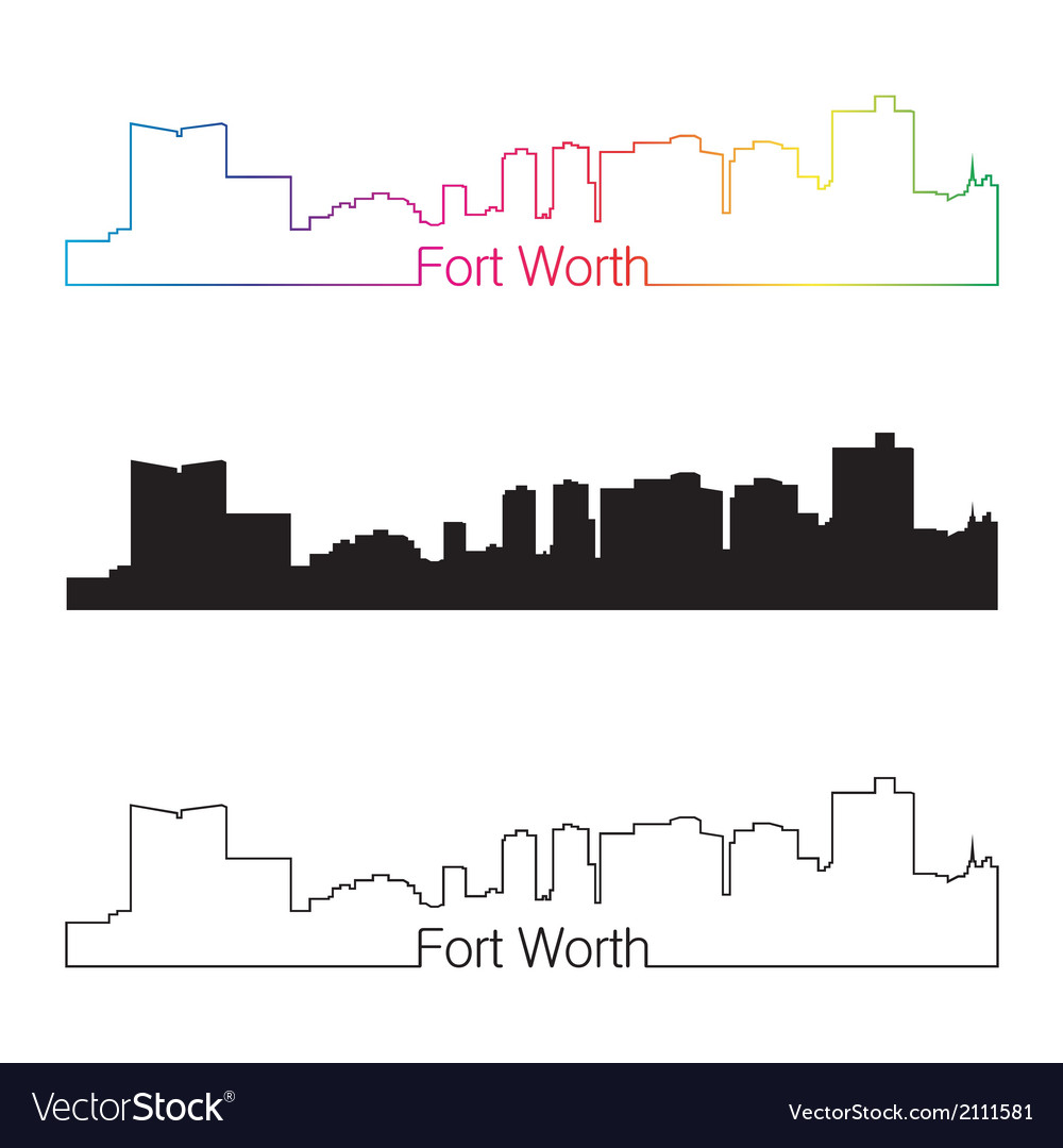 Fort Worth skyline linear style with rainbow