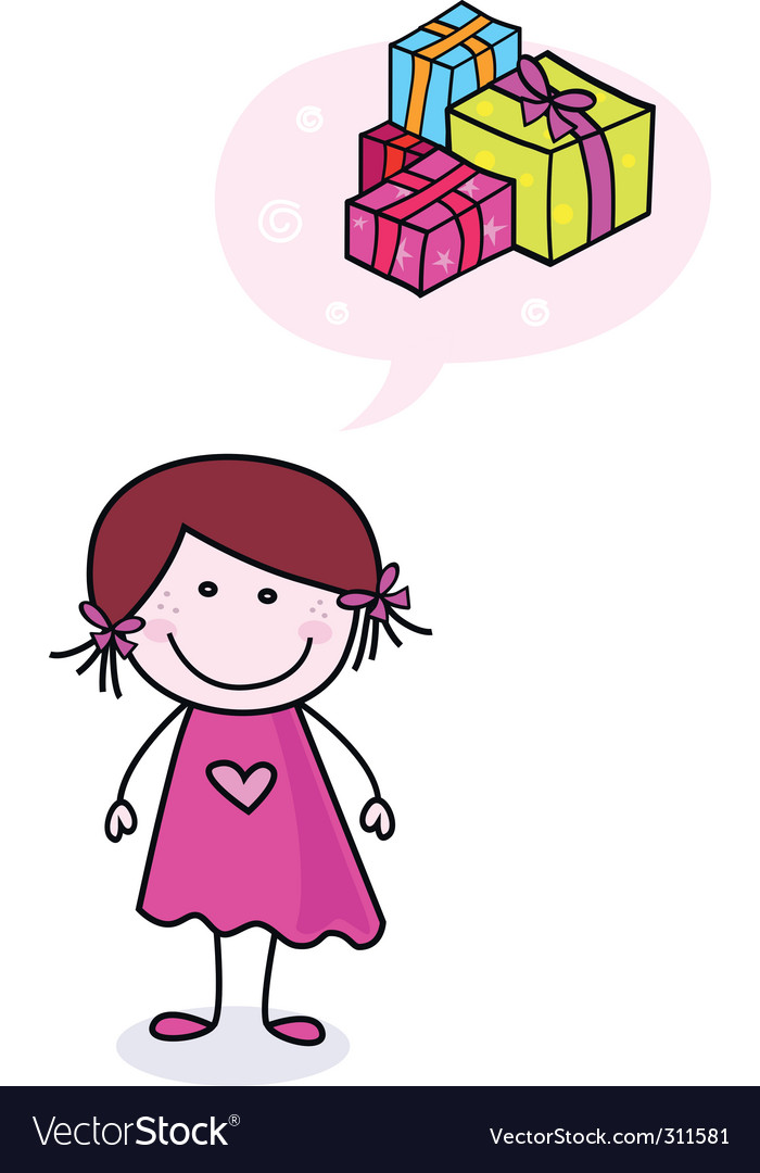Girl dreaming about presents vector image