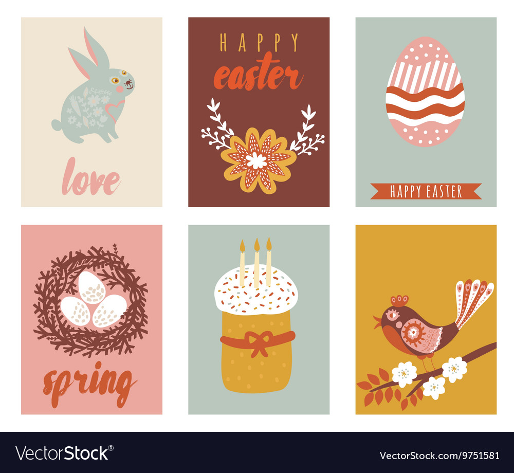 Happy easter greeting cards template with easter