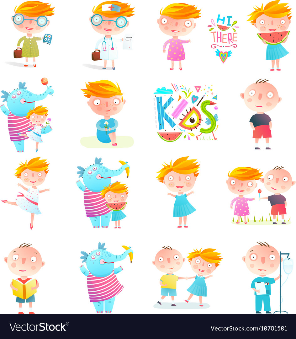 Kids boys and girls collection clipart