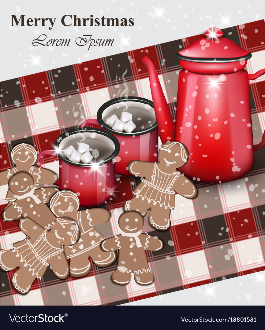 Merry Christmas Card Gingerbread Cookies And Hot Vector Image