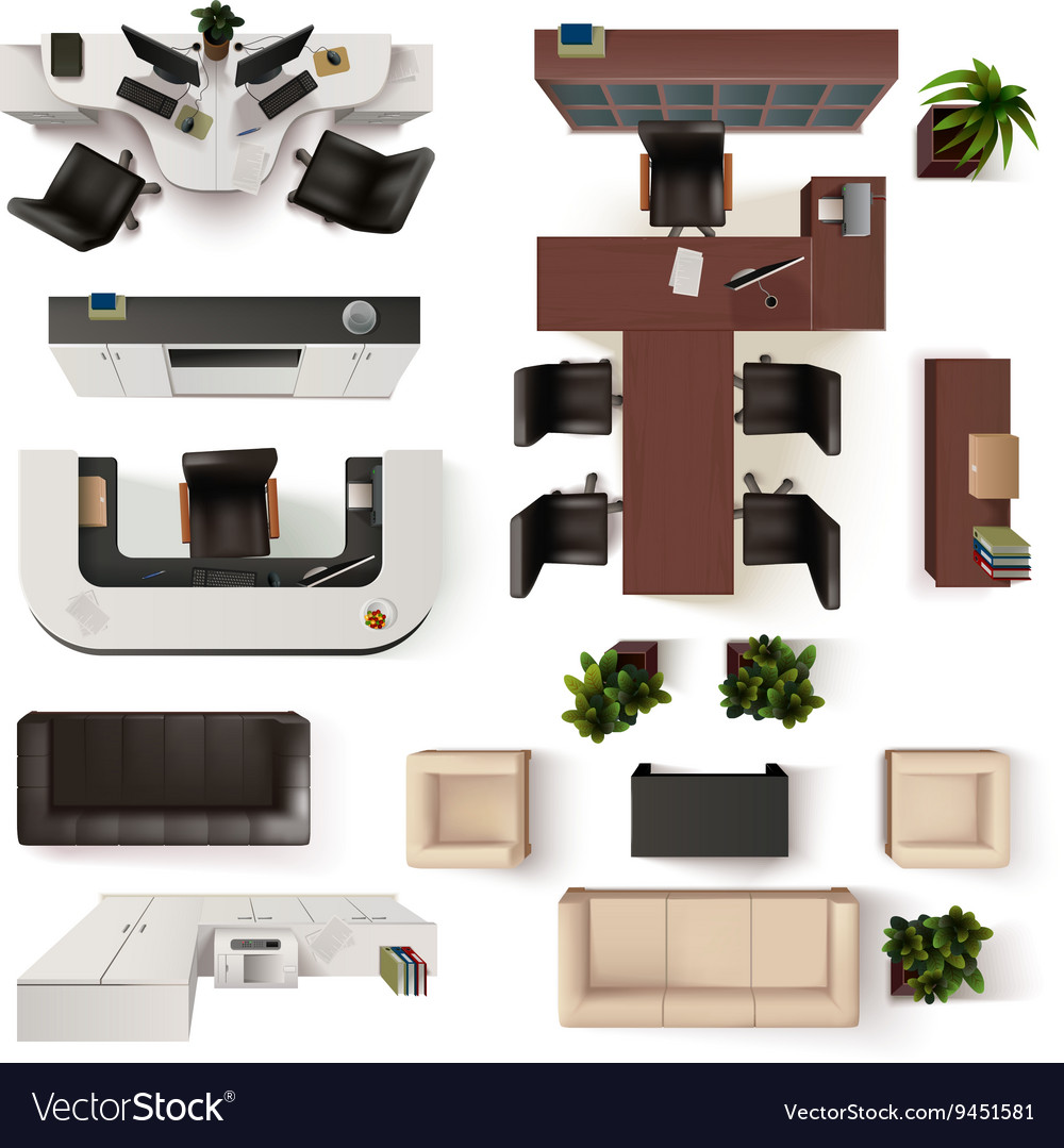 office interior elements top view set royalty free vector
