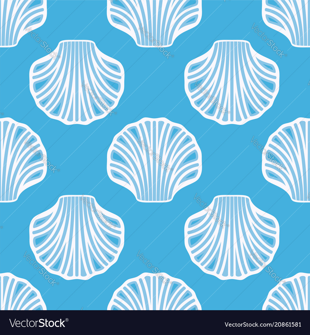 Sea shell seamless background