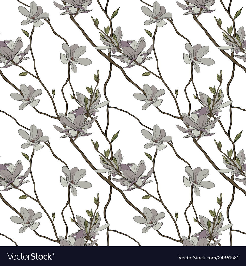 Seamless pattern branches and flowers of