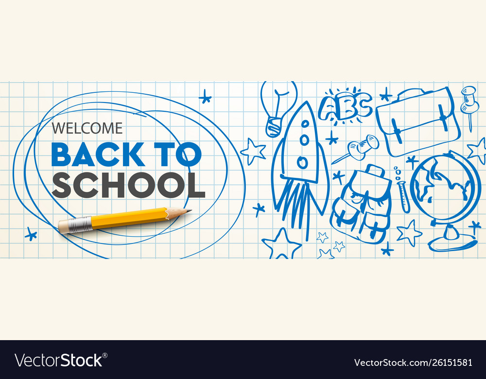 Welcome back to school horizontal banner doodle