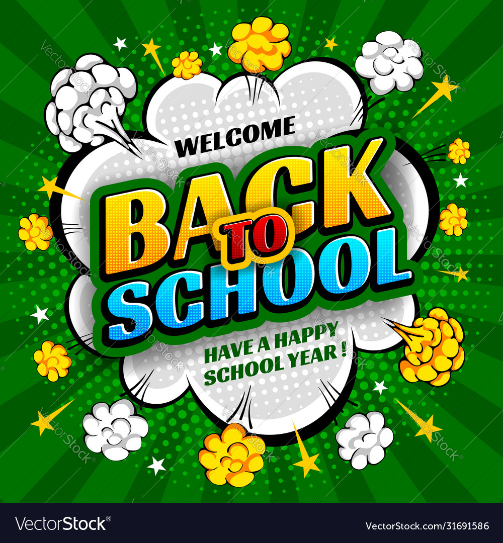 Back to school background design in pop art style