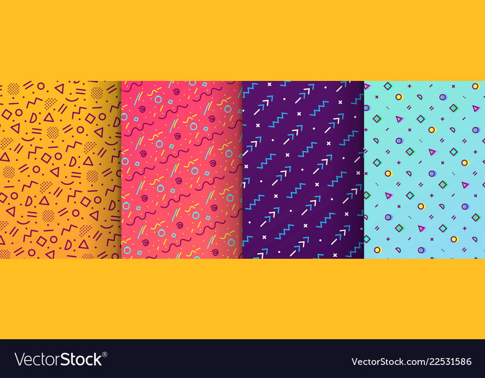 Colorful memphis seamless patterns available in