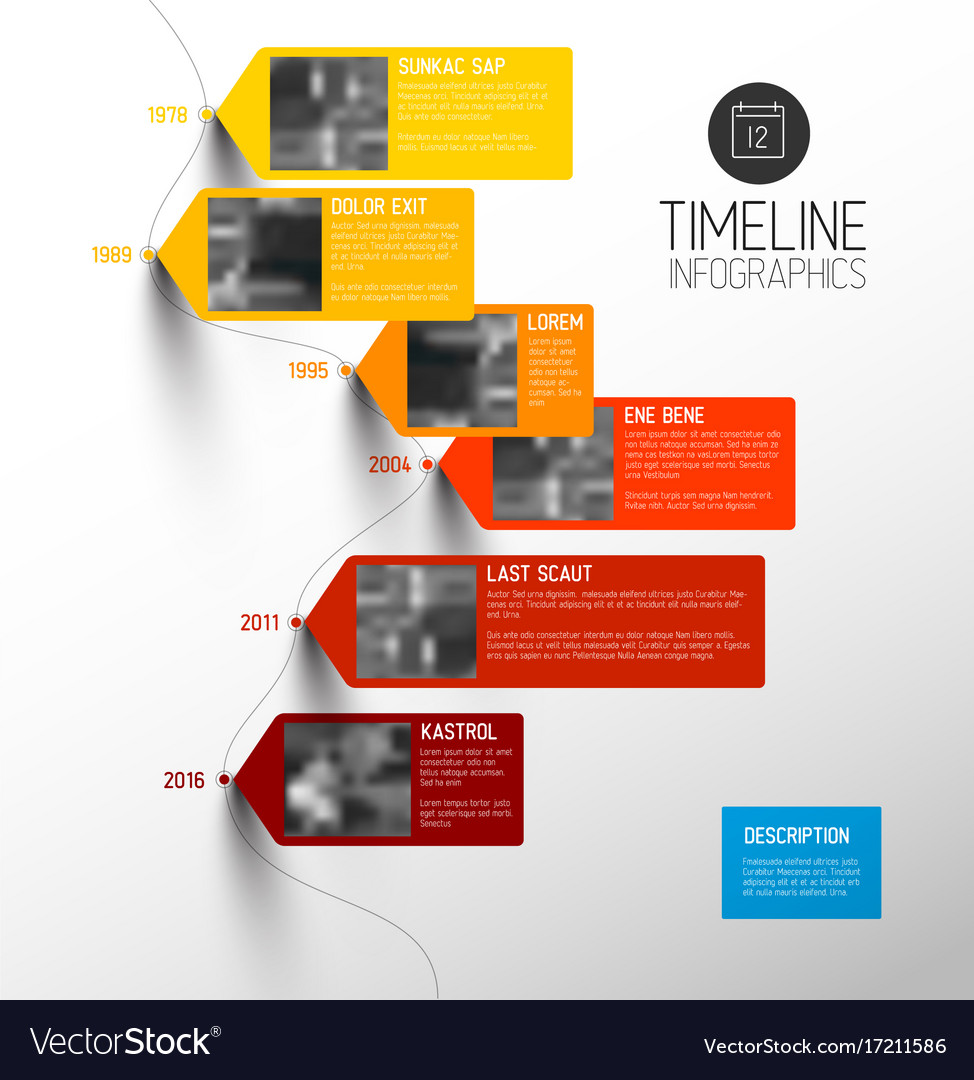 colorful vertical timeline infographic royalty free vector