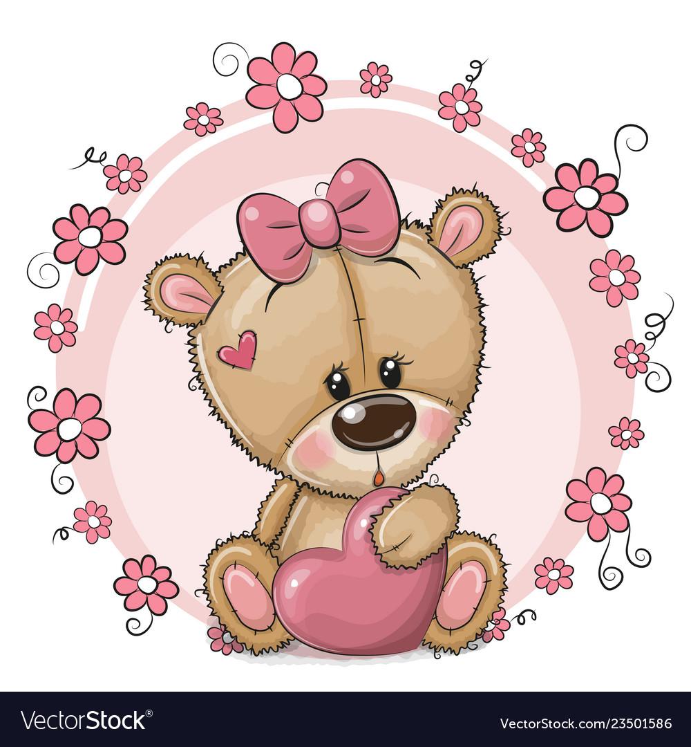 Cute cartoon teddy bear girl with heart and Vector Image