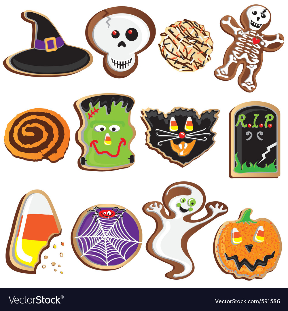 Cute halloween cookies clipart