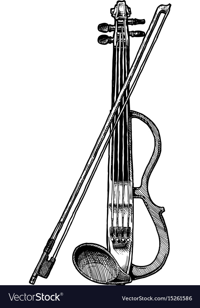 Electric violin with bow