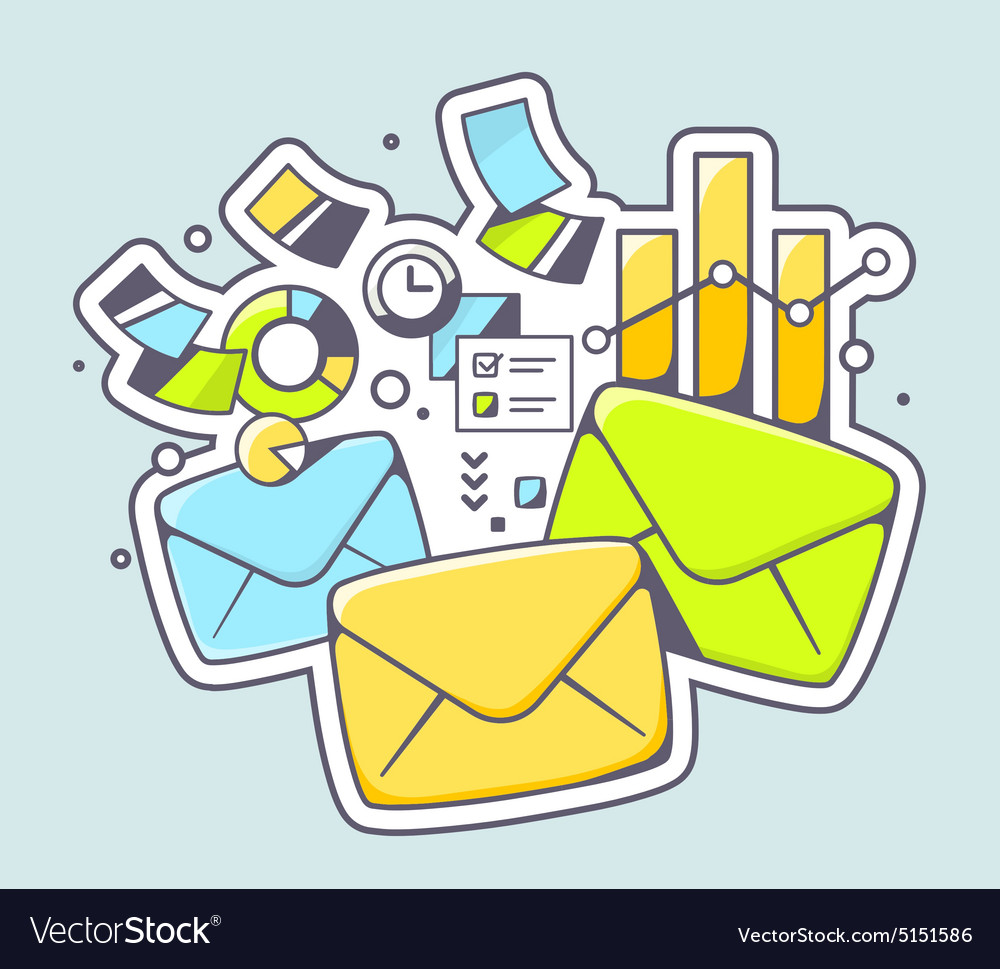 Envelopes and financial documents on colo vector image