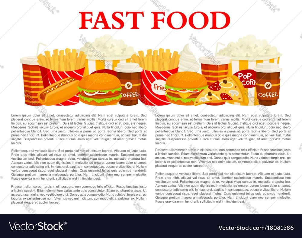 Fast food poster of burger drink dessert