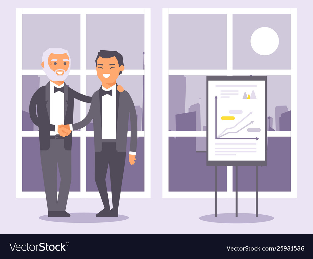 Flat people businessmen in formal black suits