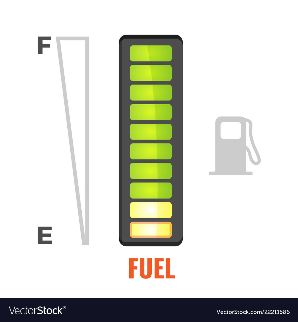 Fuel gauge in tank of car icon from full to empty