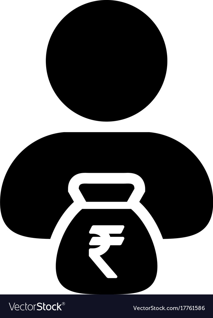 Indian Rupee Sign Icon Person Male Avatar Symbol Vector Image