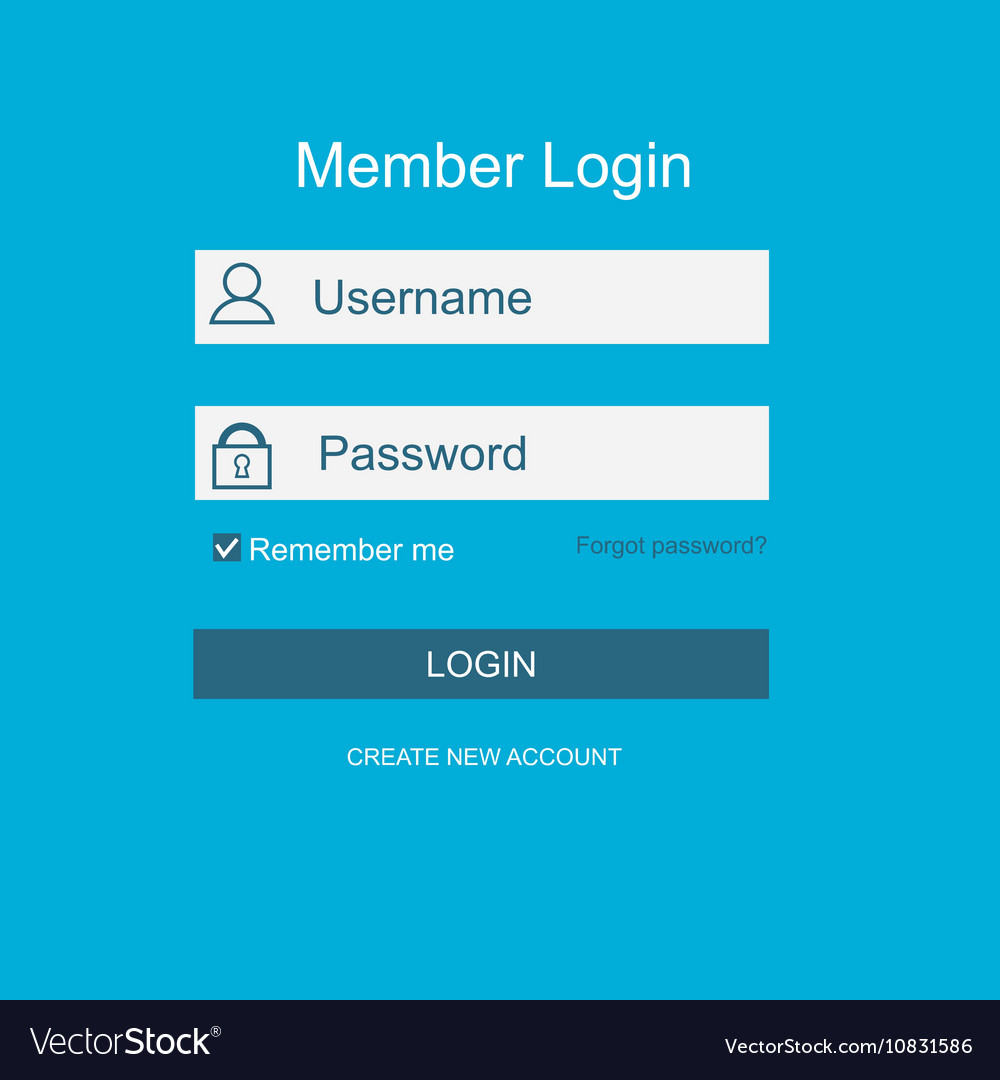 Login form menu with simple line icons