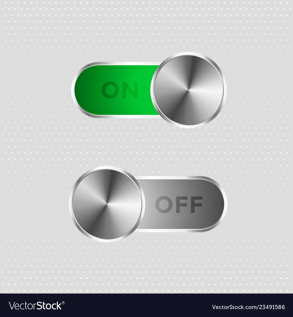 Metal toggle switch on and off button