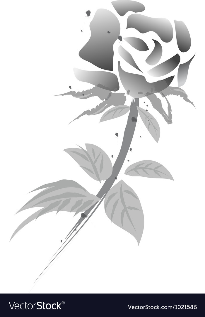 Rose flower chinese painting black white version vector image mightylinksfo