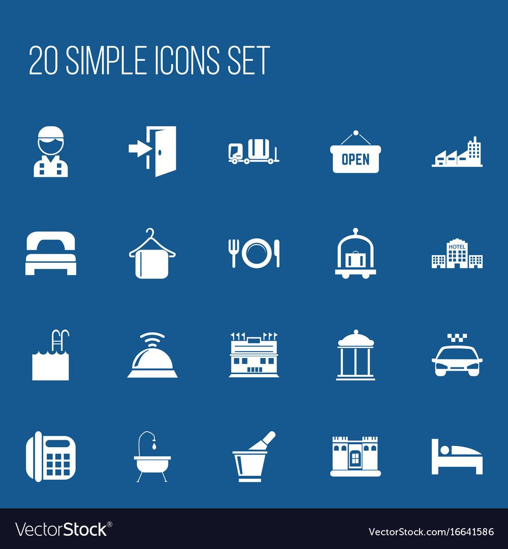 Set of 20 editable plaza icons includes symbols