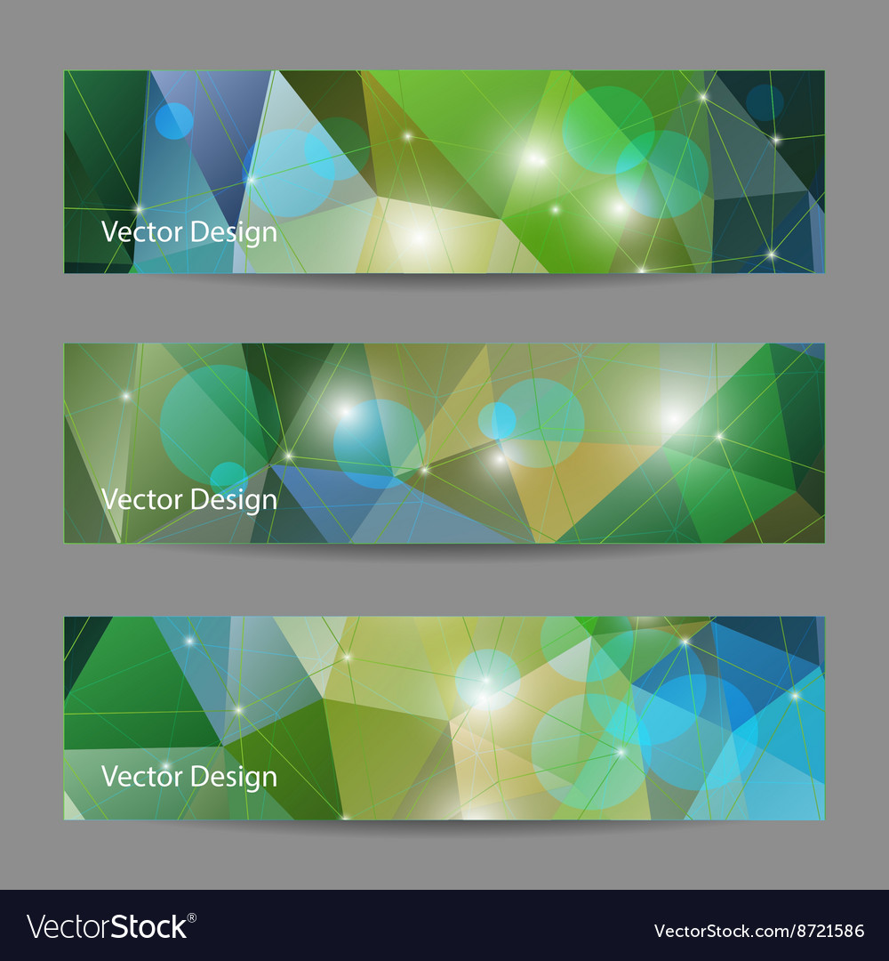 Set of banners with polygonal background