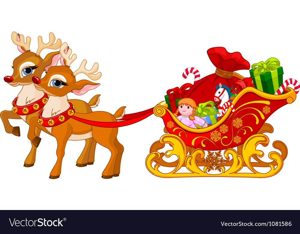 Sleigh of Santa Claus vector image