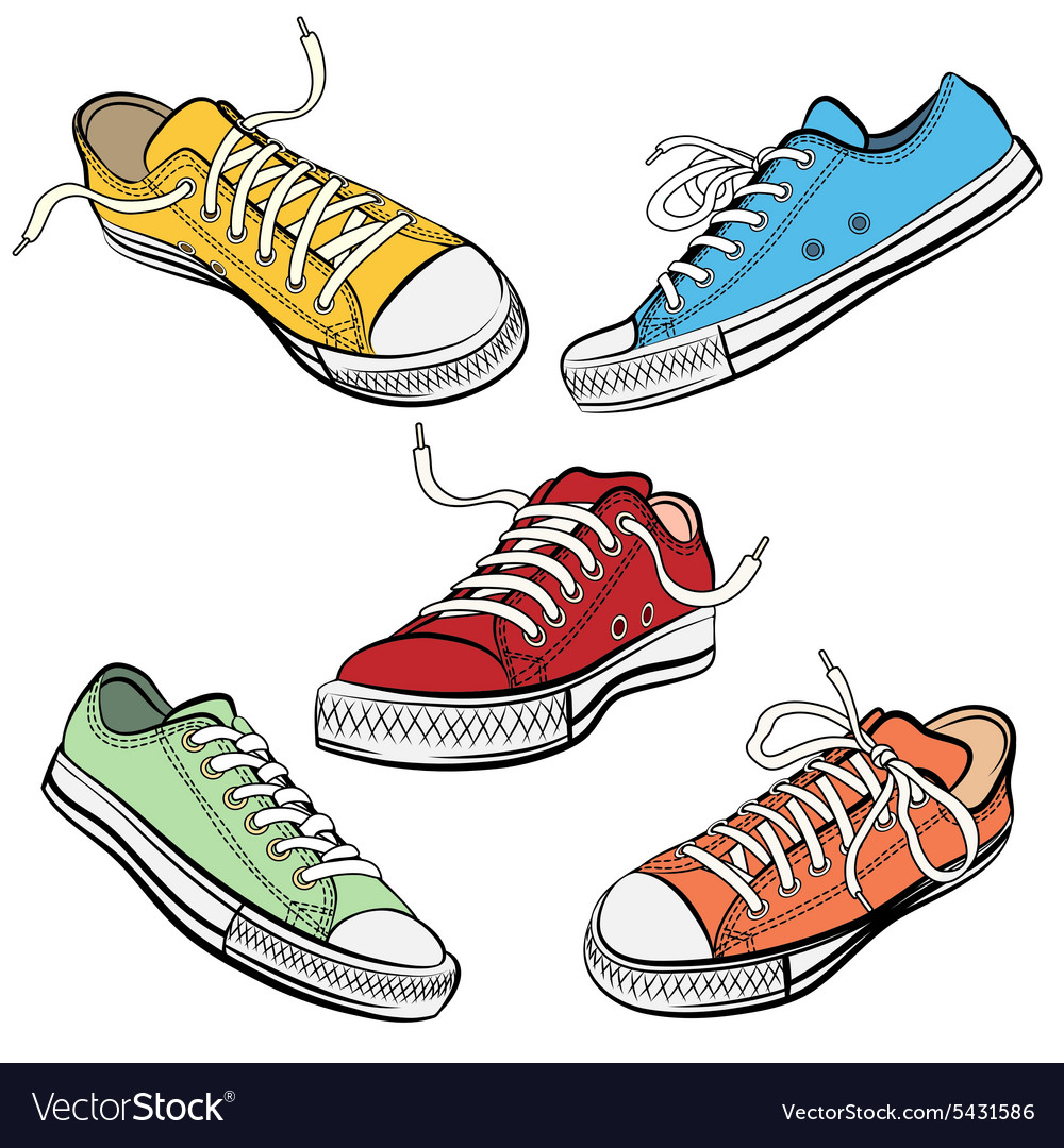 Sport shoes or sneakers icons in different views