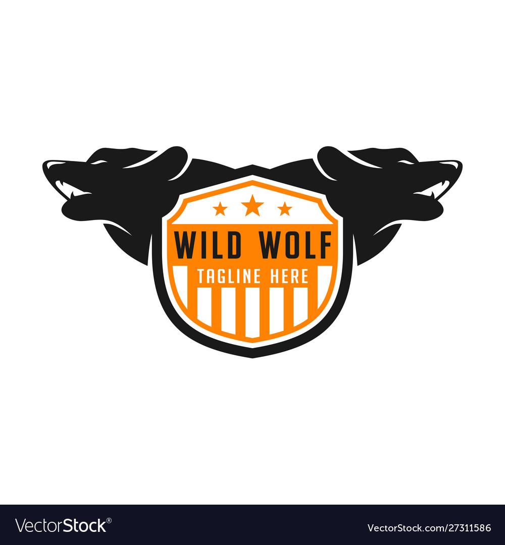 Wolf shield logo design template
