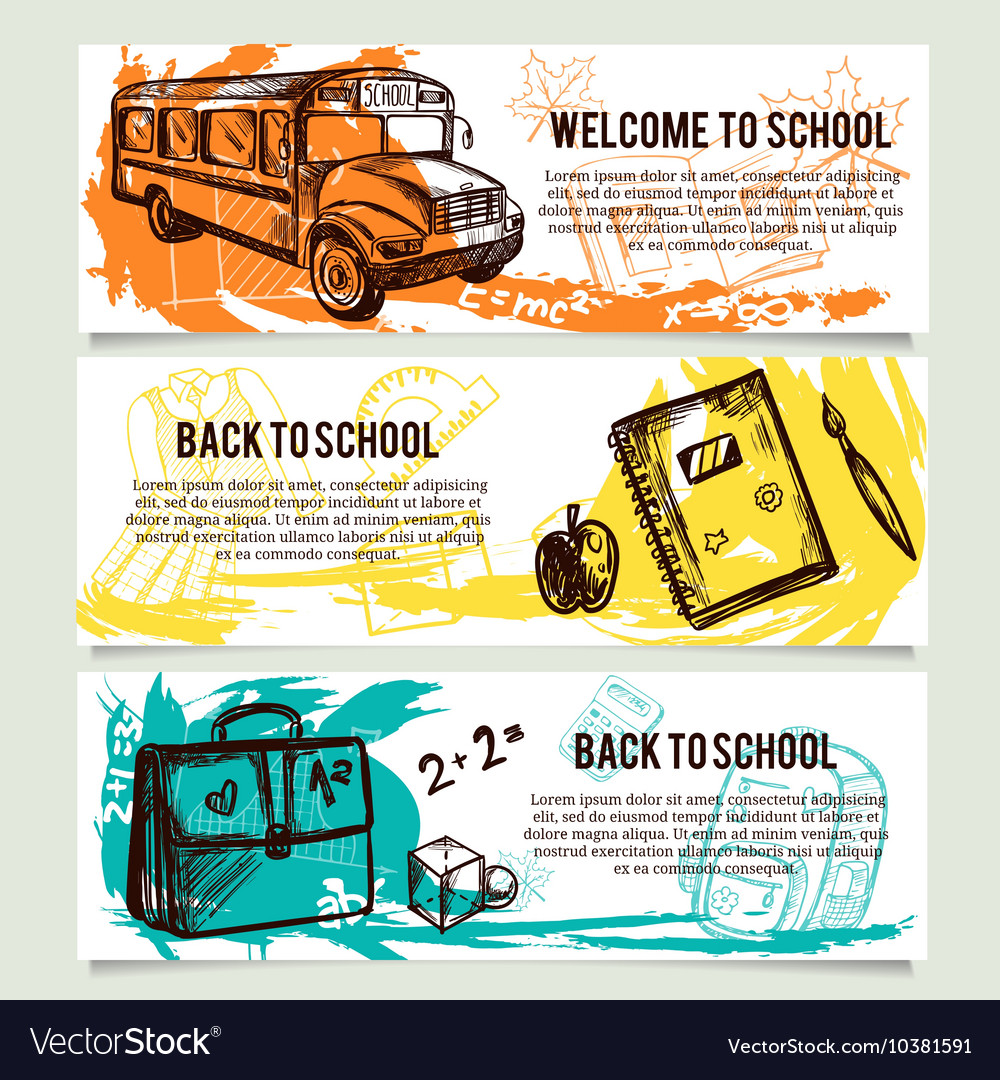 Back to school banners website header set