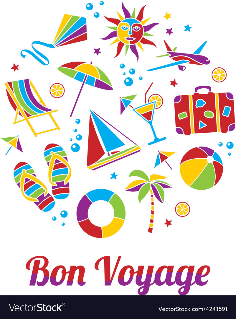 Bon Voyage card Royalty Free Vector Image - VectorStock