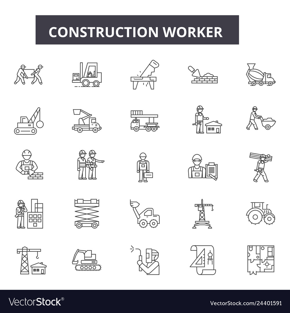 Construction worker line icons for web and mobile