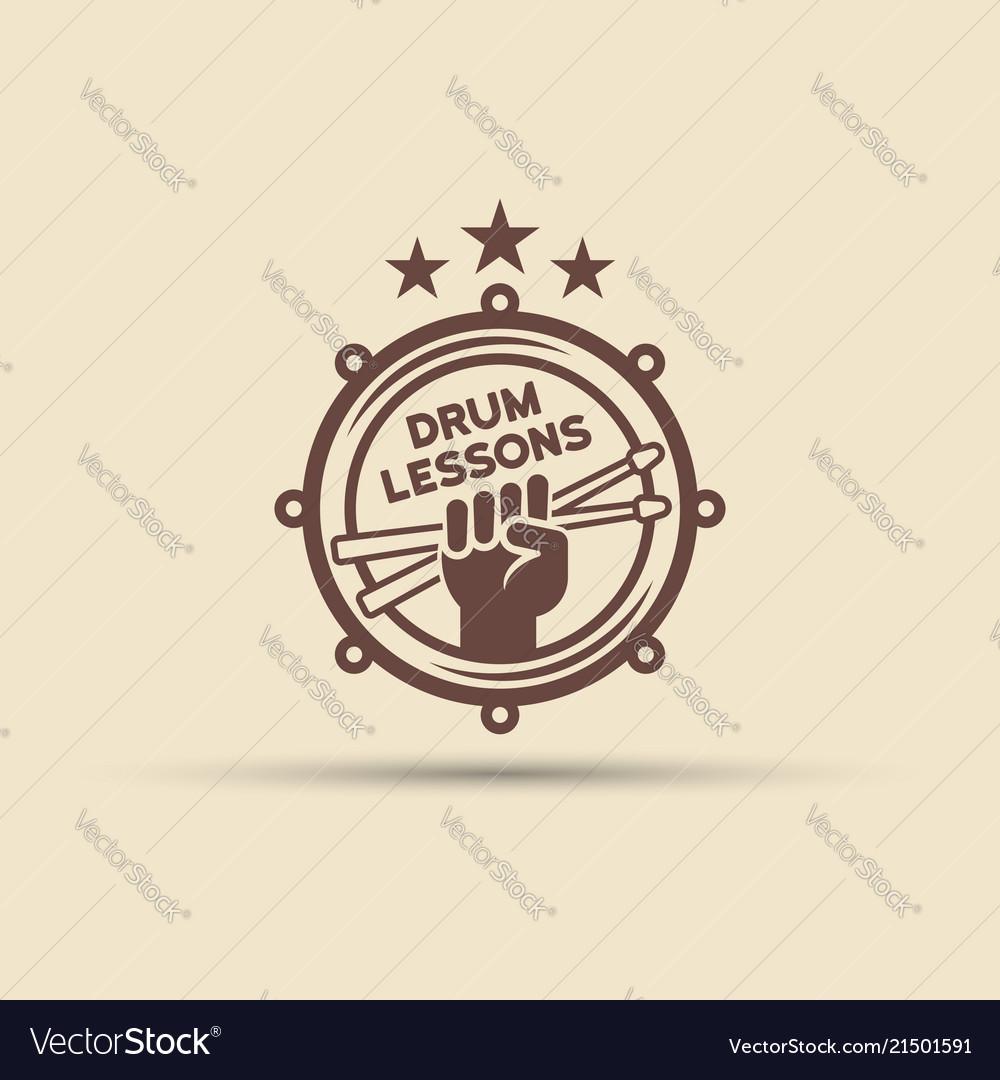 Drum school isolated round emblem