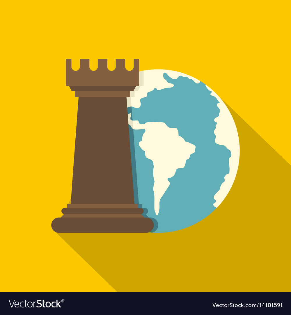 Globe earth and chess rook icon flat style vector image