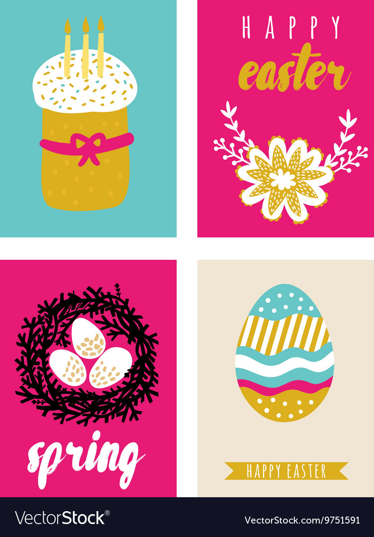 Happy easter greeting cards template