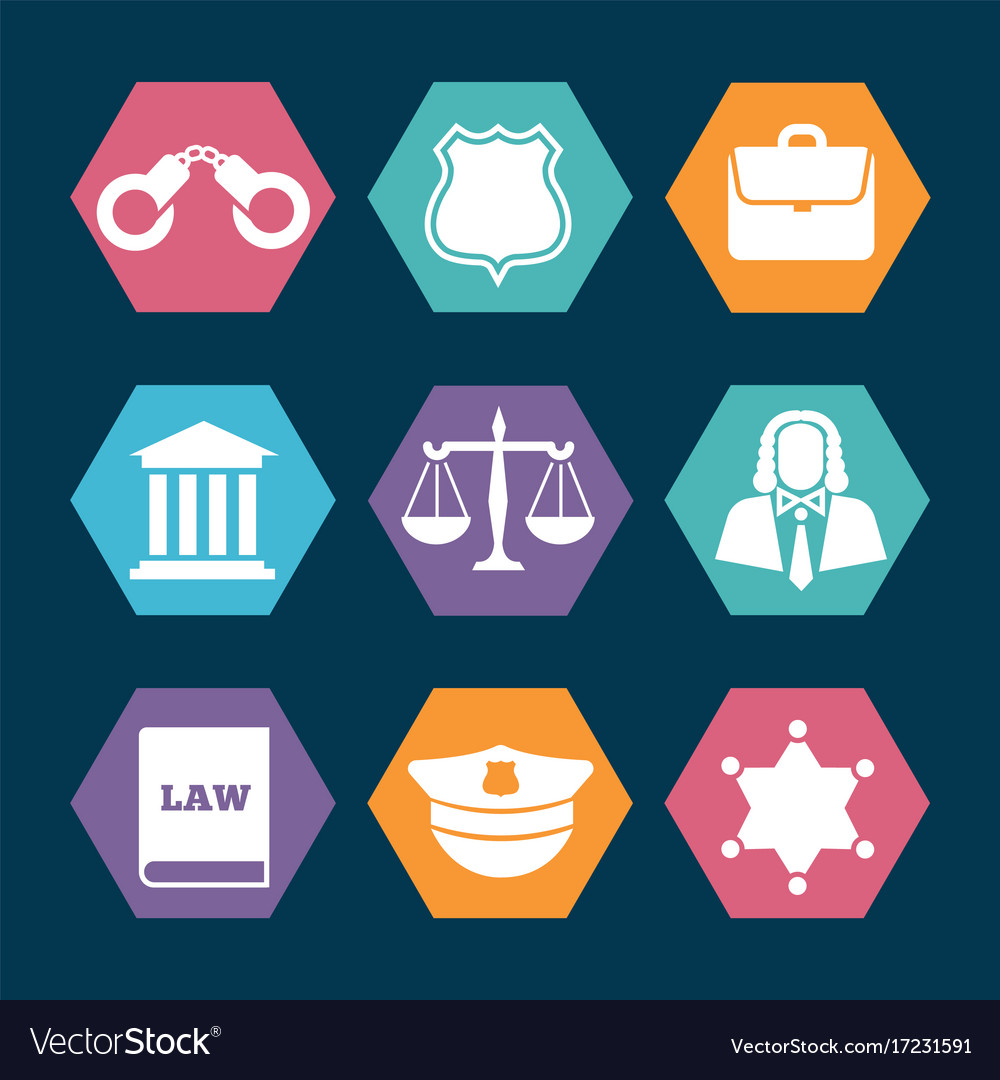 Law justice and police icons set