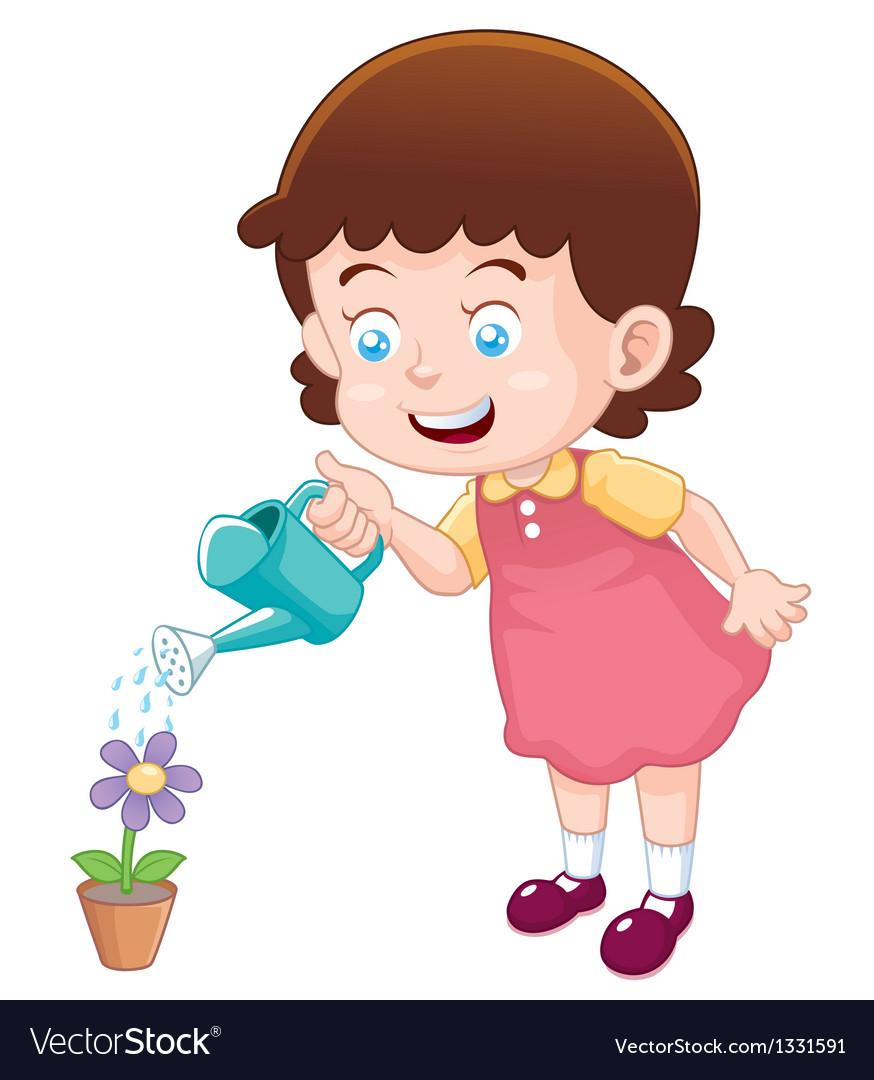 Little girl watering flower
