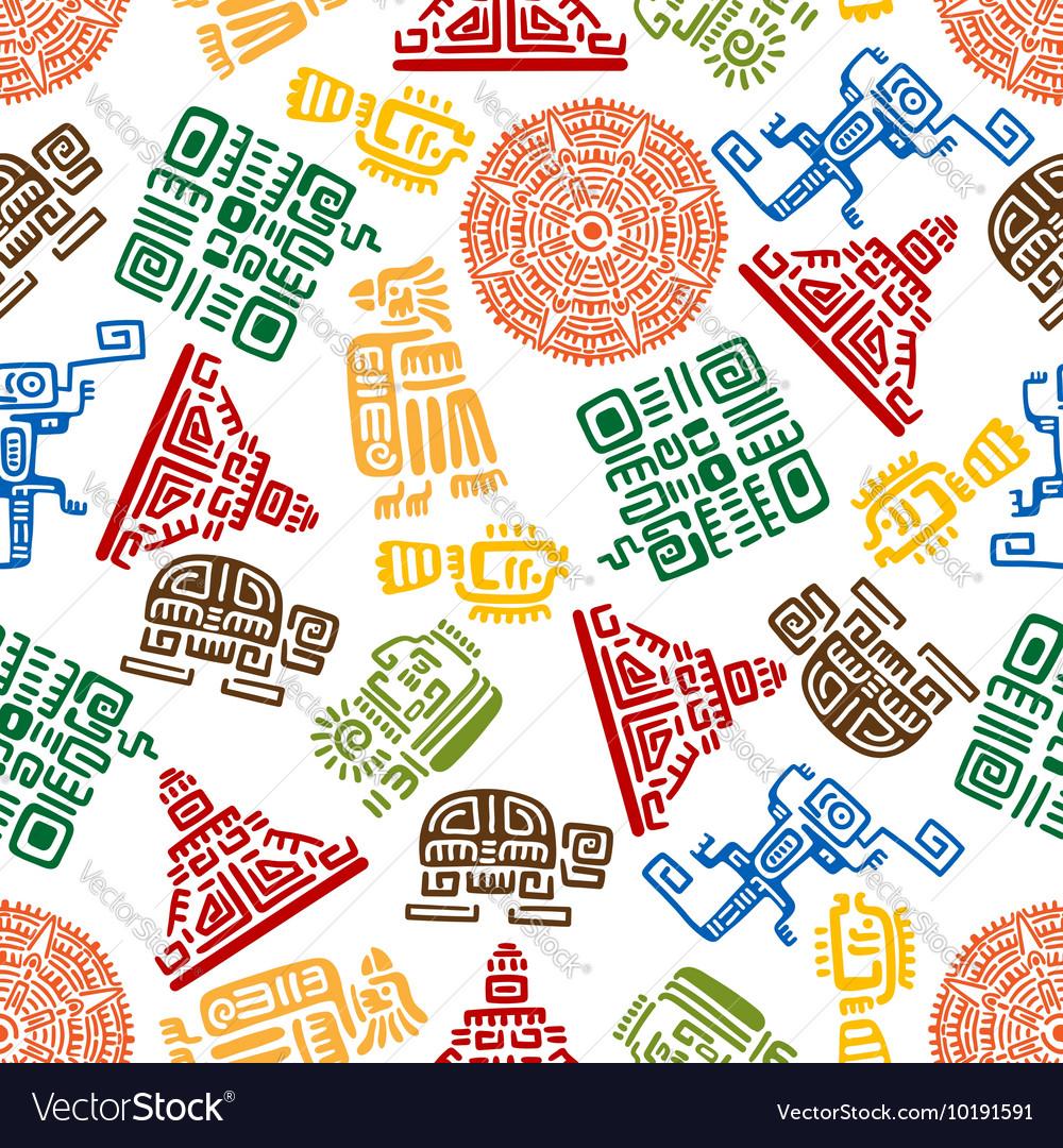 Seamless pattern mayan and aztec ornament