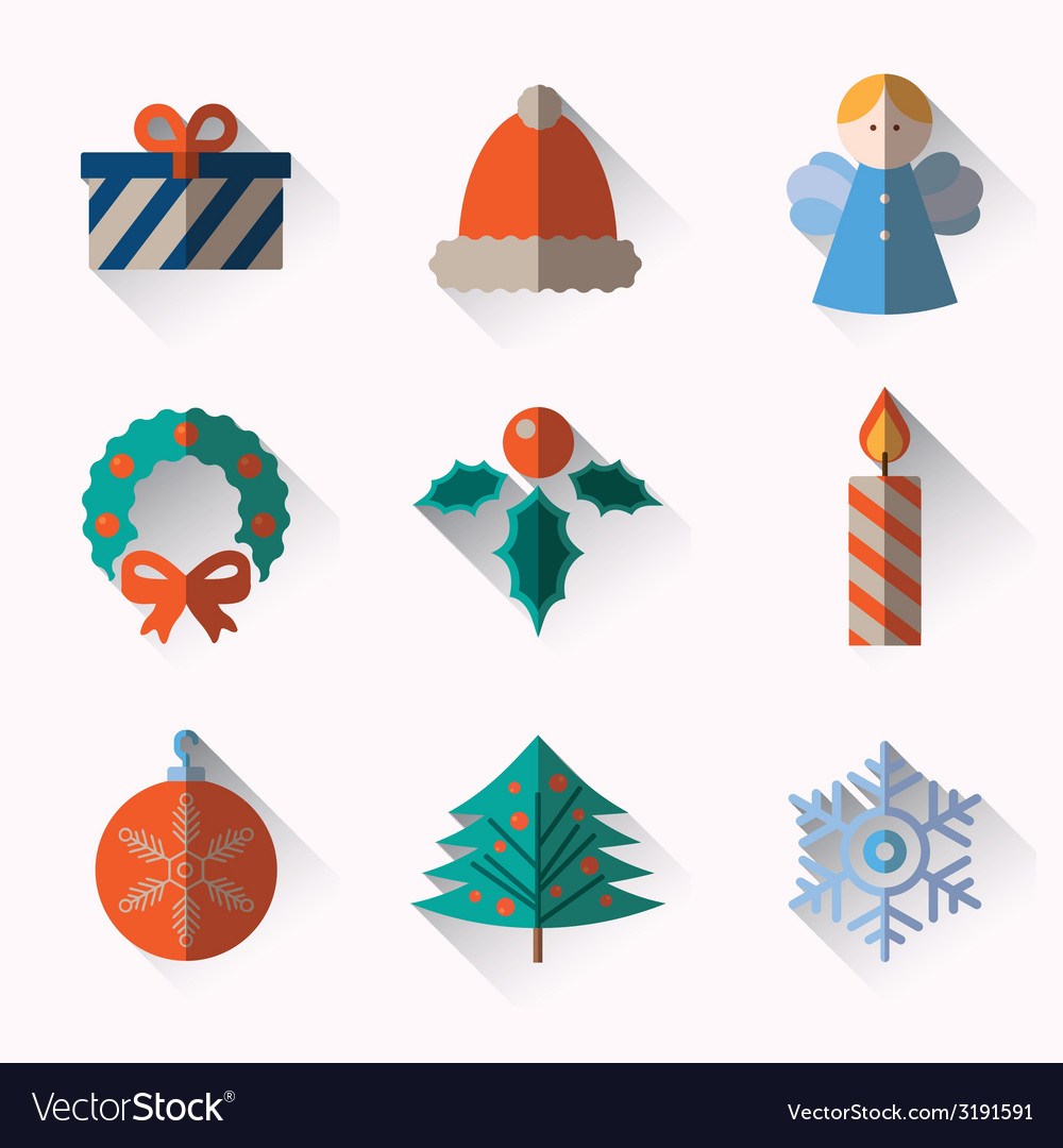 Set of modern style Christmas flat icons