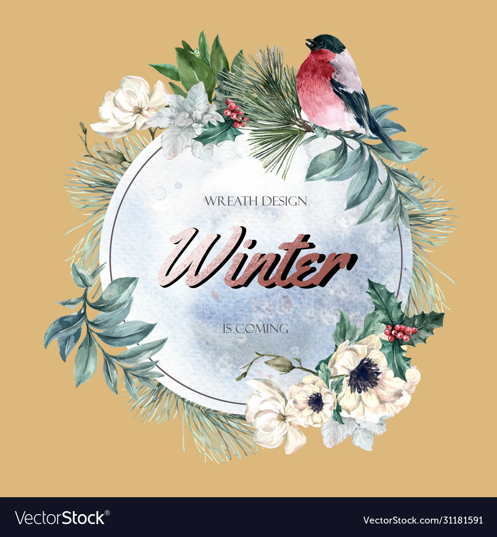 Winter floral blooming wreath frame elegant