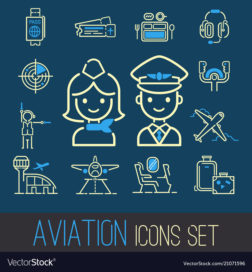 Aviation icons set airline outline graphic
