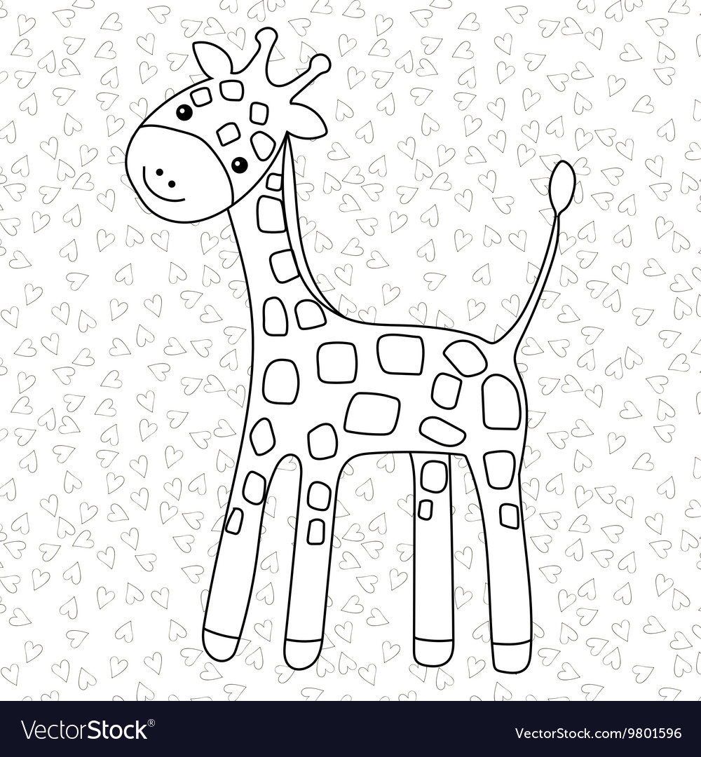 - Coloring Page Little Cute Giraffe Stands And Vector Image