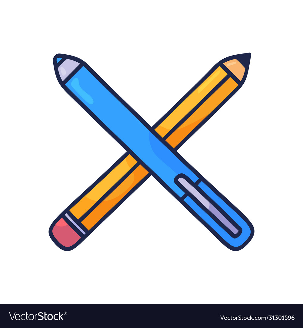 Crossed pencils hand drawn doodle icon outline