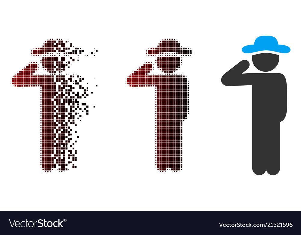 Dust pixel halftone gentleman salute icon